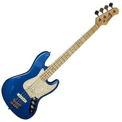 Chase 4 String Jazz Bass Electric Guitar B370-MB Metallic Blue Vintage Style c