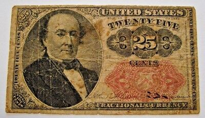 1875  25 Cent Fractional Currency Note F-1308 Fifth Issue Red Seal   Good