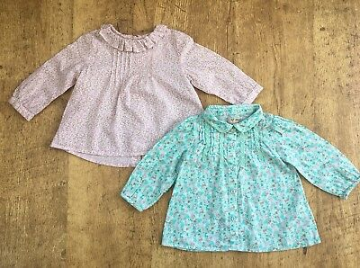 Next ~ 2 x Girls Blouses Tops ~ Age 6-9 Months