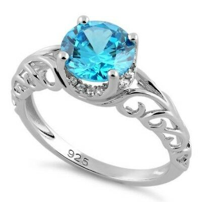 Melchior Jewellery Sterling Silver Swirl Design Blue Topaz CZ Ring Gift Boxed