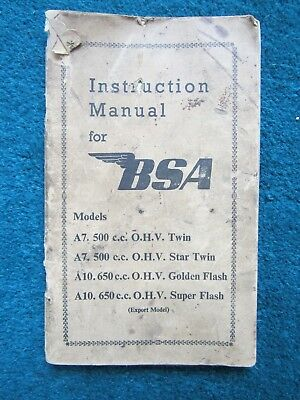 Genuine 1950's BSA Instruction Manual A7 and A10 Golden Flash