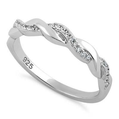 Melchior Jewellery Sterling Silver Braided Clear CZ Ring Gift Boxed