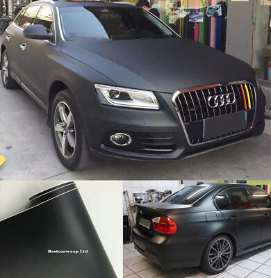Flat Matte Vinyl Film Car Wrap PVC Car Body Color Change Decal Sticker Black DIY