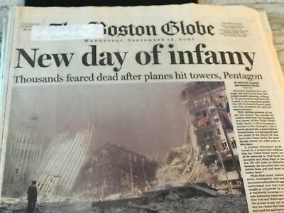 """THE BOSTON GLOBE-SEPTEMBER 12,2001-/""""/'NEW DAY OF INFAMY/"""" NEWSPAPER DAY AFTER 9//11"""