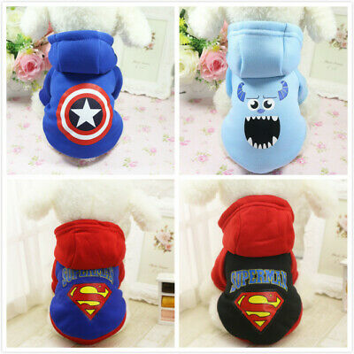 Cute Small Pet Clothing Cartoon Dog Cat Hoodie Apparel Warm Poodle Jacket Coat