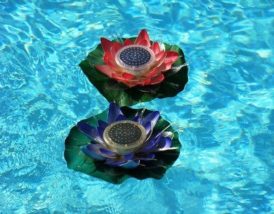 Solar Powered Color Changing Light for Garden, Walkway or Pool - Water Lily 2 Pk