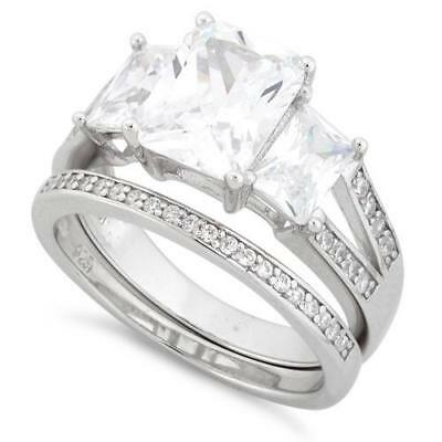 Melchior Jewellery Sterling Silver Triple Square ENGAGEMENT Set Ring Gift Boxed