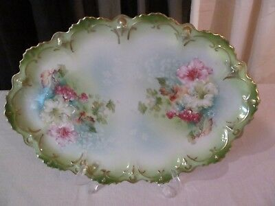 Antique Victorian Arts & Crafts Porcelain Oval Cake Plate Handpainted
