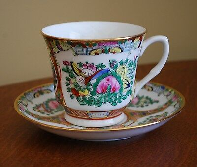 Porcelain Tea Cup Saucer Chinese Hand Decorated Chinese Rose Medallion
