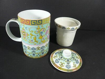 Chinese Porcelain Tea Cup / Mug with Lid & Removable Strainer / Infuser