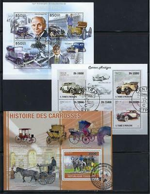 FS9631 3 Diff Souvenir Sheets of Classic Cars & Antique Automobiles & Henry Ford
