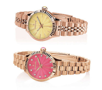 Orologio Hoops LUXURY GOLD In Acciaio Rosè Donna Estate Pink Yellow NEW