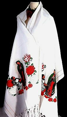 White Shawl Pashmina Chal Rebozo Ruana Virgen Guadalalupe Mexico Table Runner