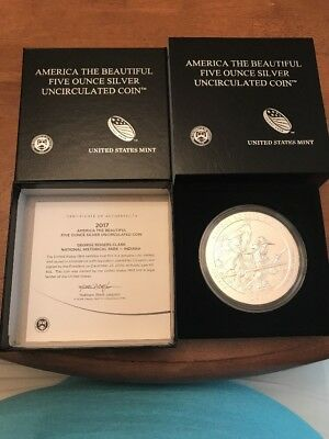 2017-P George Rogers Clark America Beautiful ATB 5 Oz .999 Silver Coin w/Box+COA
