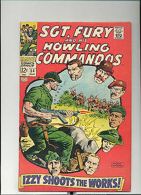 """Sgt. Fury #54, (May 1968, Marvel), """"Izzy Shoots the Works"""", [5.5 FN-]"""