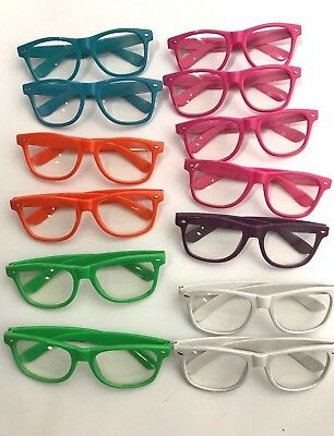 HUGE LOT 13 Pairs Large Hipster Glasses Nerd Clear Lens Rim Party Sun Retro Pink
