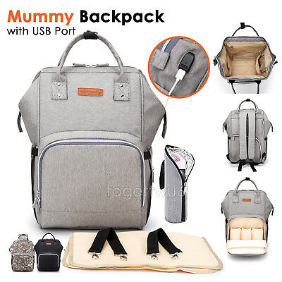 Luxury Multifunctional Baby  Nappy Backpack Waterproof Mummy  Bag USB Port AU