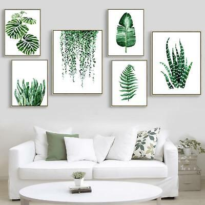 Modern Green Tropical Plant Leaves Canvas Painting Poster Wall Art Leaf Print