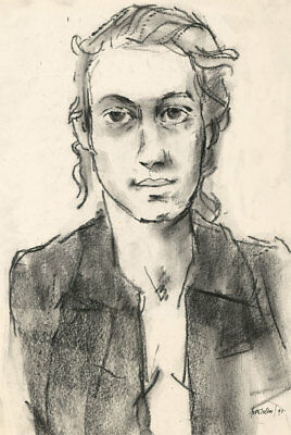 Peter Collins ARCA - 1990 Charcoal Drawing, Portrait of a Woman