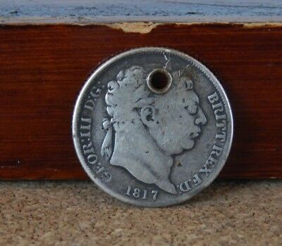 George III 1817 Sixpence made into A Pendant sterling silver
