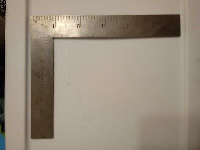 Vintage L.S. Starrett No.21  6 x 4 Inch Thin Steel Try-Square. Made in the USA.