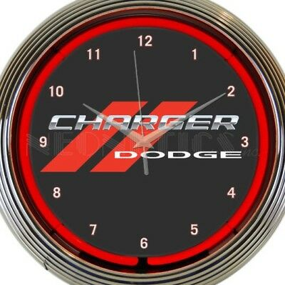 Dodge Charger Red Muscle Car Neon Clock 15 Inch Office Game Room Bar Garage Home