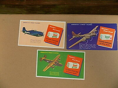 Set of 3 Vintage Bond bread advertising ink blotters