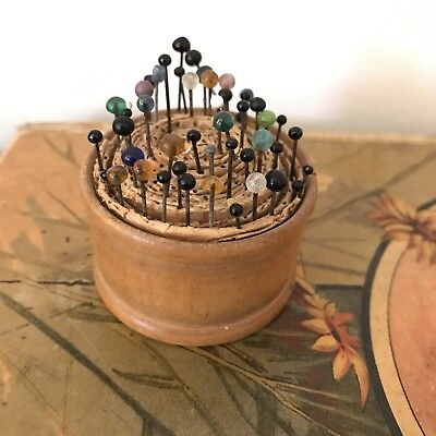 Antique Glass Head Pyramid Sewing Toilet Pins in Wooden Pin Cushion
