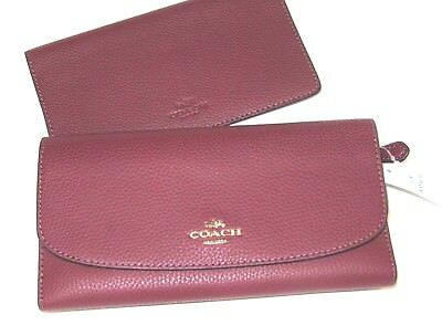 New Authentic Coach F16613 Pebble Leather Checkbook Wallet Crimson Red