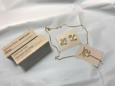 1989 Avon Precious Bee Lariat Necklace & Matching Pierced Earrings NOS