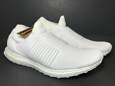 1dfb57f36ca Adidas UltraBoost Laceless Running Sneaker Shoes Triple White S80768 Mens  Size 9