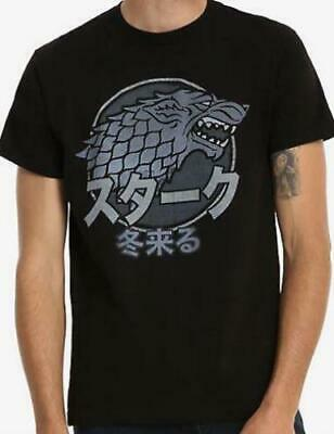 Game of Thrones HBO Show Japan Japanese Stark House Black Mens T Shirt Tee