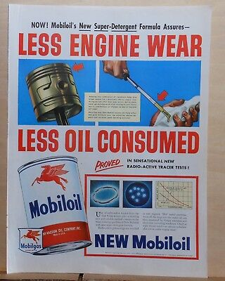 1952 magazine ad for Mobil - Less Engine Wear, Less Oil Consumed, colorful