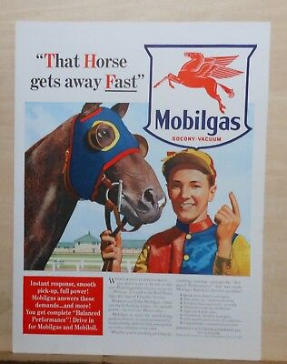 1940 magazine ad for Mobil - jockey & racehorse, That horse gets away fast!