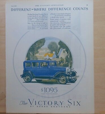 1928 magazine ad for Dodge - blue Victory Six 4-door sedan, A New Kind of Car