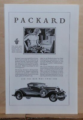 1929 magazine ad for Packard - man at forge, Packard Craftsman carefully chosen