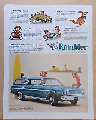 1964 magazine ad for Rambler - Classic 770 Cross Country Wagon & surfers