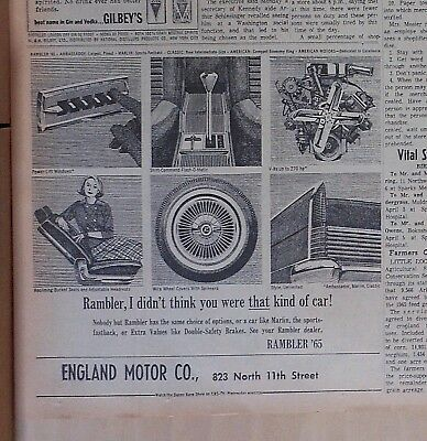 1965 newspaper ad for Rambler - Didn't Think You Were That Kind of Car! features