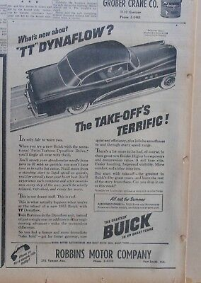 1953 newspaper ad for Buick - What's New about TT Dynaflow? Take-off's Terrific!