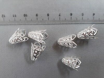 10 Silver plated filigree cone shaped bead caps 16mm long. suits beads 8mm+