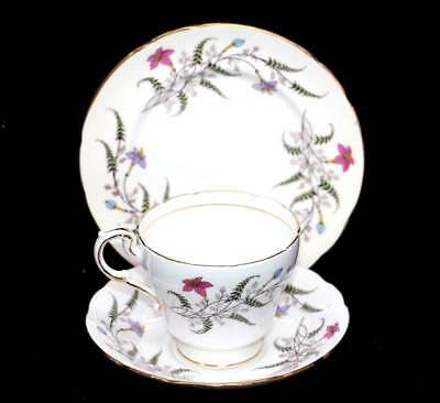 Vintage Paragon bone china pink flowers teacup trio set