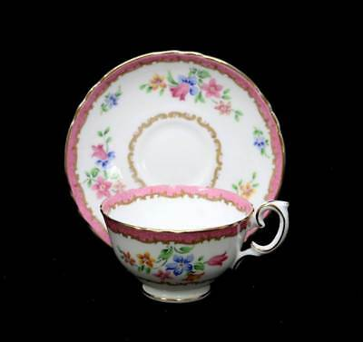 Vintage Crown Staffordshire exquisitely pretty pink & floral teacup duo set