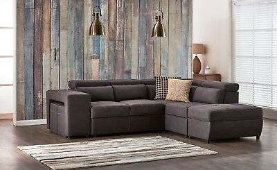 NEW corner chaise lounge (sofa bed) + ottoman (storage) + 2 x stools