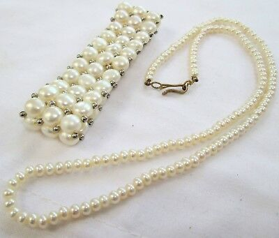 Good vintage 3 row cultured pearl cuff bracelet + necklace