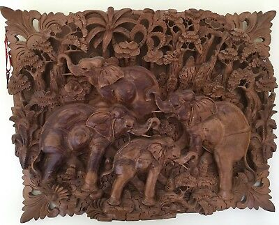 Vintage Indonesian Wood Carving..elephant Scene