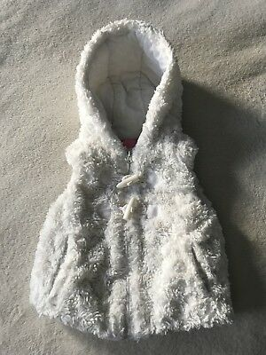 MINOTI Toddler Girls White Hooded Faux Artificial Fur Vest Outerwear Size 2T