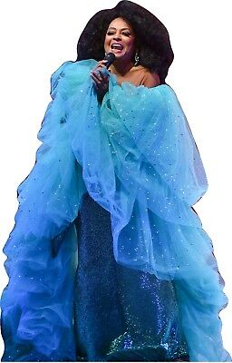 """DIANA ROSS - TURQUOISE GOWN 68"""" TALL CARDBOARD CUTOUT Standee"""