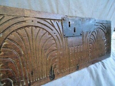 17Th Century Small Oak   Panel  Carved Two Arch's, Iron Lock Plate