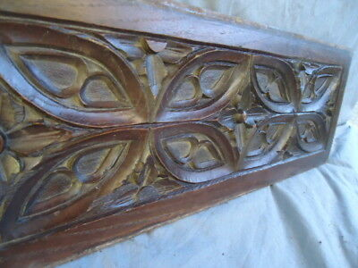 19Th Century Small Oak Carved Gothic    Panel ,