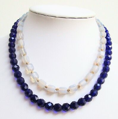 Good quality vintage faceted sapphire glass bead necklace + moonstone glass